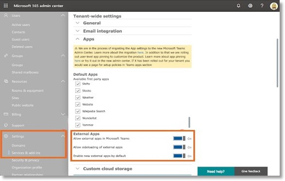 Administrator should enable the External Apps in the Microsoft Office 365 admin center.