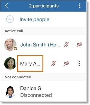 Tap the participant's name, then enter your message. Tap the Send button.