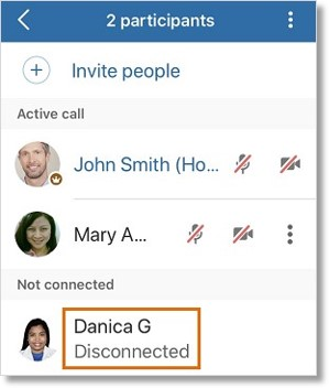 To chat an attendee who has already left the meeting, tap the participant's name.