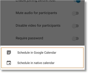 The calendar options available will depend on the email service applications installed on your phone.