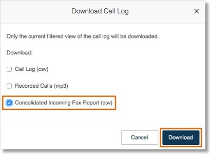 Select Consolidated Incoming Fax Report, then click Download.