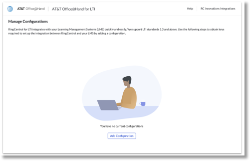 Once logged in, admins can click on 'Add configuration' to start integrating their Learning Management System (LMS) with AT&T Office@Hand.